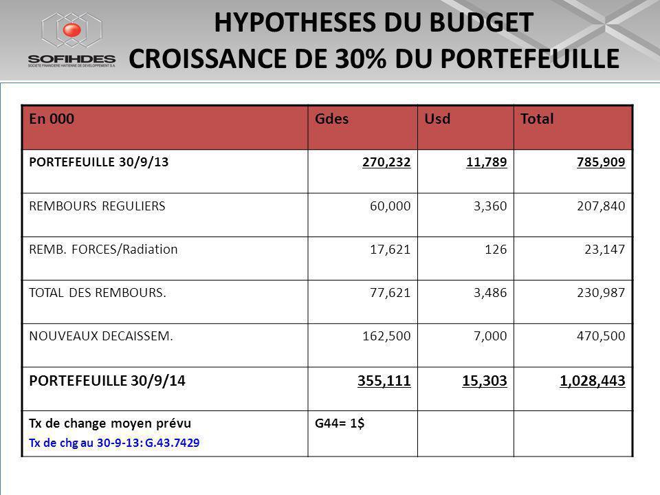 HYPOTHESES DU BUDGET CROISSANCE DE 30% DU PORTEFEUILLE En 000GdesUsdTotal PORTEFEUILLE 30/9/13270,23211,789785,909 REMBOURS REGULIERS60,0003,360207,840 REMB.