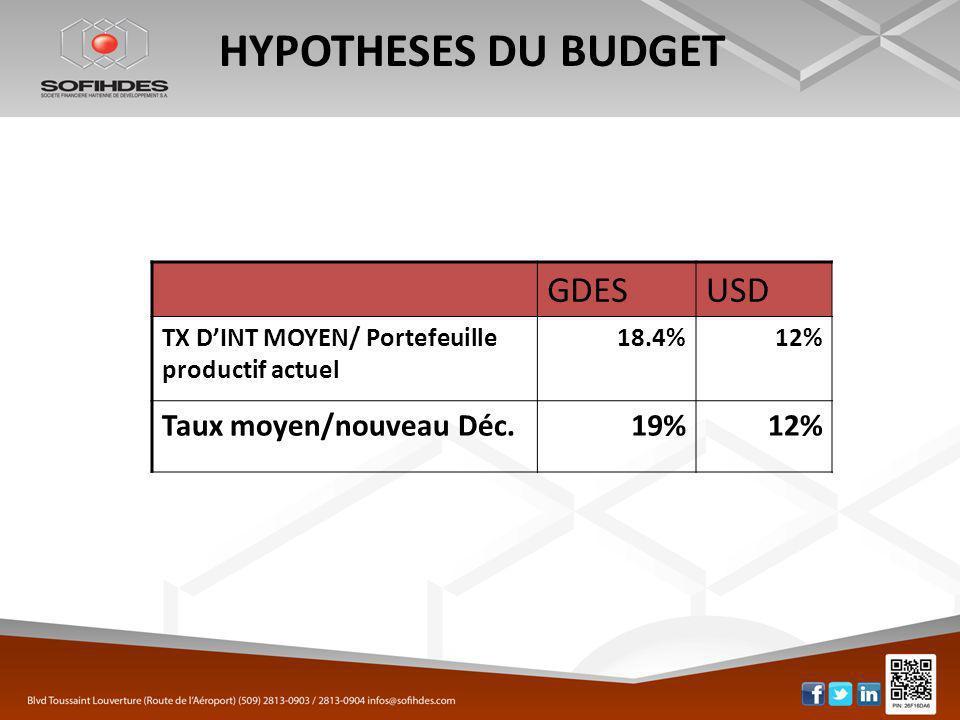 HYPOTHESES DU BUDGET GDESUSD TX DINT MOYEN/ Portefeuille productif actuel 18.4%12% Taux moyen/nouveau Déc.19%12%