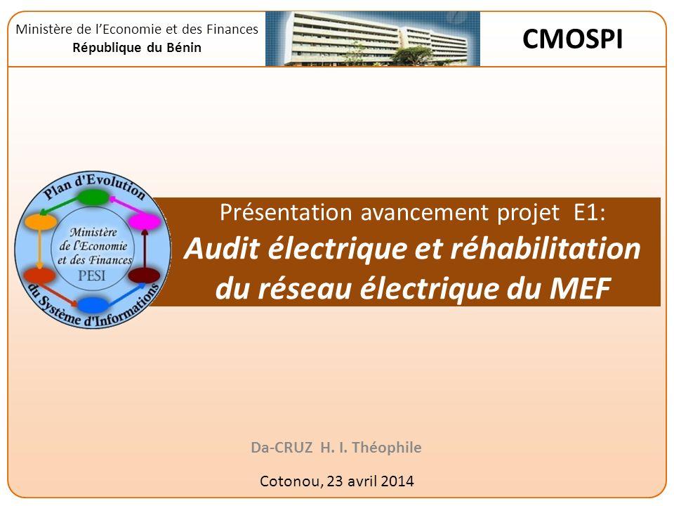 Présentation avancement projet E1: Audit électrique et réhabilitation du réseau électrique du MEF Da-CRUZ H.