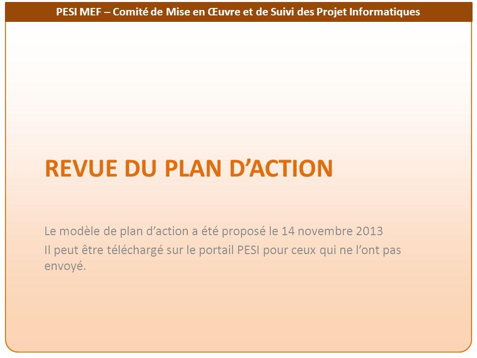 PESI MEF – Comité de Mise en Œuvre et de Suivi des Projet Informatiques REVUE DU PLAN DACTION Le modèle de plan daction a été proposé le 14 novembre 2013 Il peut être téléchargé sur le portail PESI pour ceux qui ne lont pas envoyé.