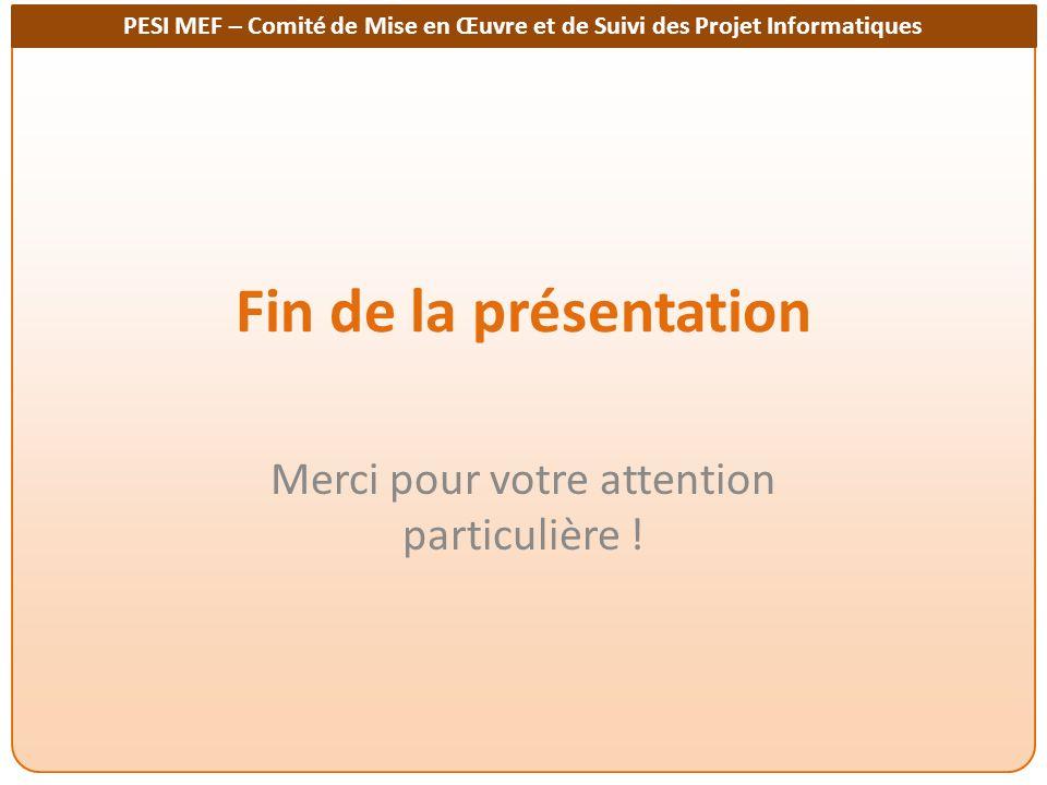 PESI MEF – Comité de Mise en Œuvre et de Suivi des Projet Informatiques Fin de la présentation Merci pour votre attention particulière !