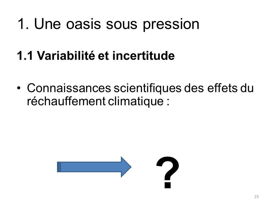 1.1 Variabilité et incertitude Connaissances scientifiques des effets du réchauffement climatique : ? 1. Une oasis sous pression 19