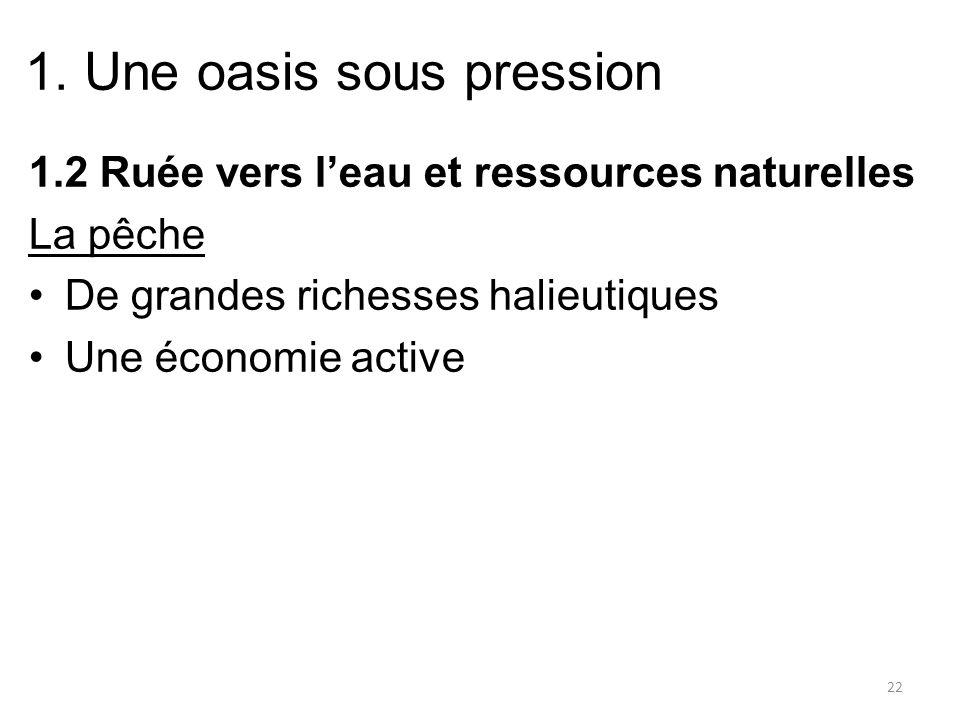 1. Une oasis sous pression 1.2 Ruée vers leau et ressources naturelles La pêche De grandes richesses halieutiques Une économie active 22