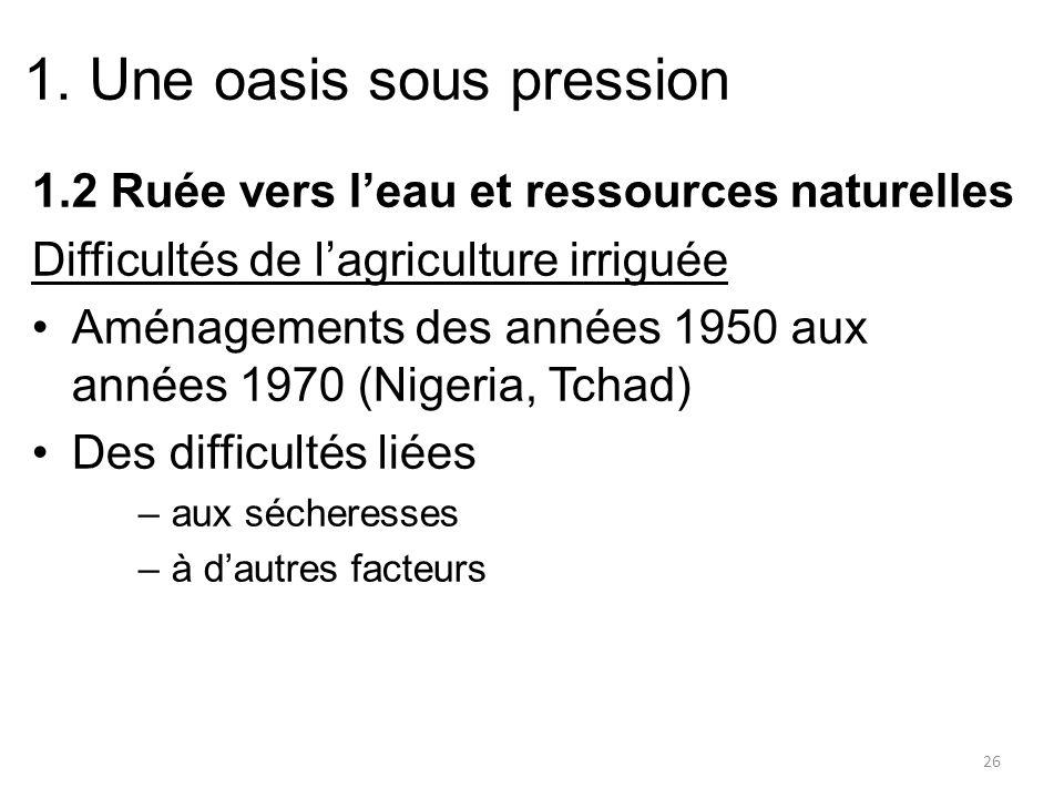 1. Une oasis sous pression 1.2 Ruée vers leau et ressources naturelles Difficultés de lagriculture irriguée Aménagements des années 1950 aux années 19
