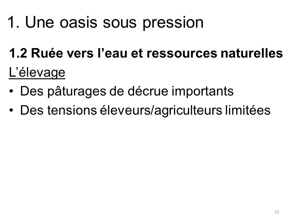 1. Une oasis sous pression 1.2 Ruée vers leau et ressources naturelles Lélevage Des pâturages de décrue importants Des tensions éleveurs/agriculteurs