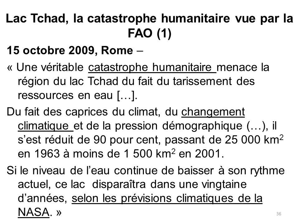 15 octobre 2009, Rome – « Une véritable catastrophe humanitaire menace la région du lac Tchad du fait du tarissement des ressources en eau […]. Du fai
