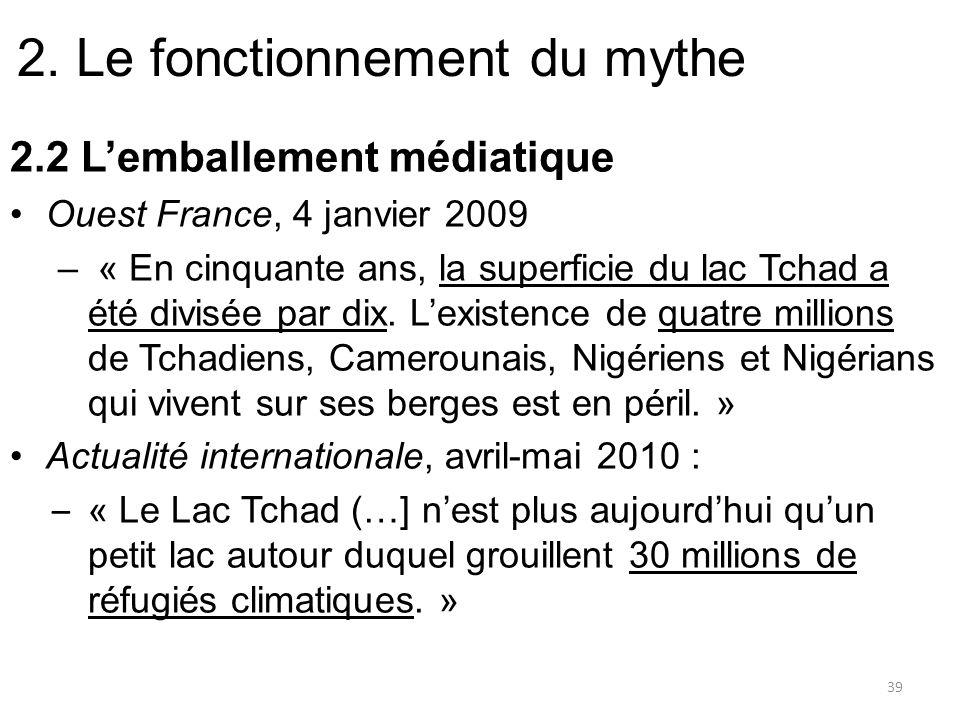 2. Le fonctionnement du mythe 2.2 Lemballement médiatique Ouest France, 4 janvier 2009 – « En cinquante ans, la superficie du lac Tchad a été divisée