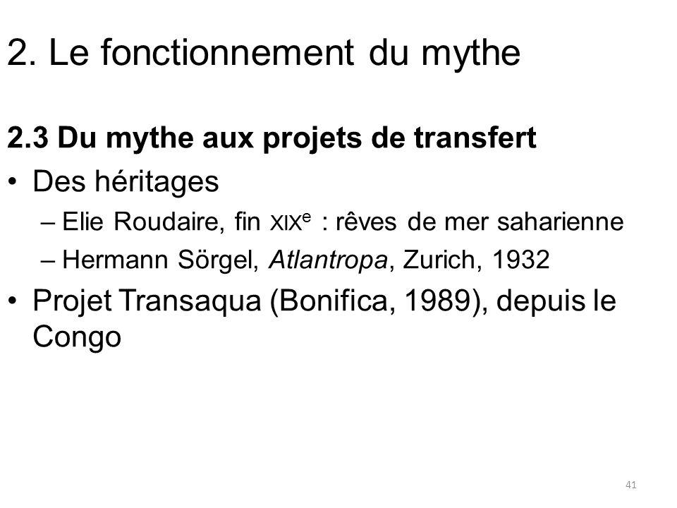 2. Le fonctionnement du mythe 2.3 Du mythe aux projets de transfert Des héritages –Elie Roudaire, fin XIX e : rêves de mer saharienne –Hermann Sörgel,