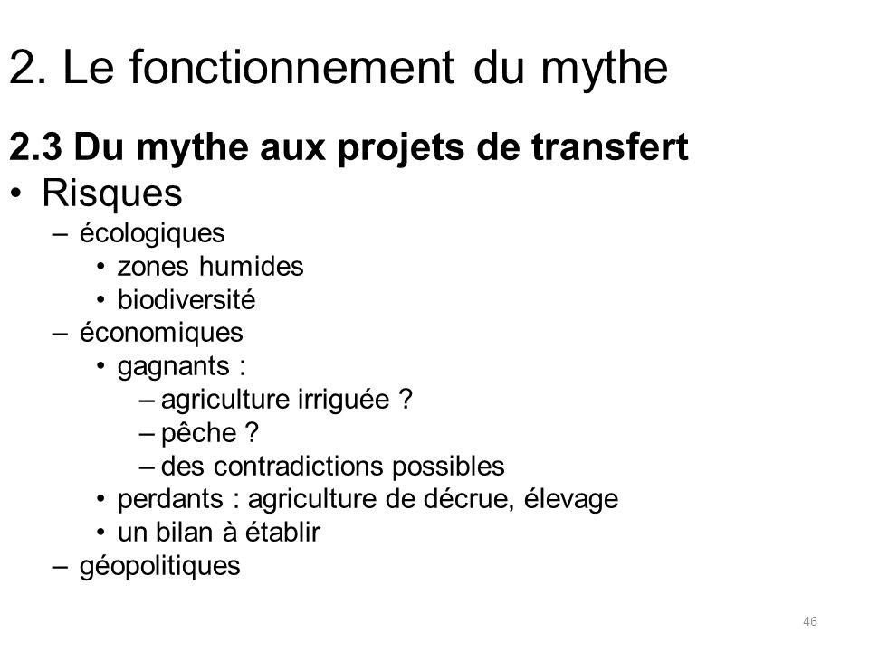 2. Le fonctionnement du mythe 2.3 Du mythe aux projets de transfert Risques –écologiques zones humides biodiversité –économiques gagnants : –agricultu