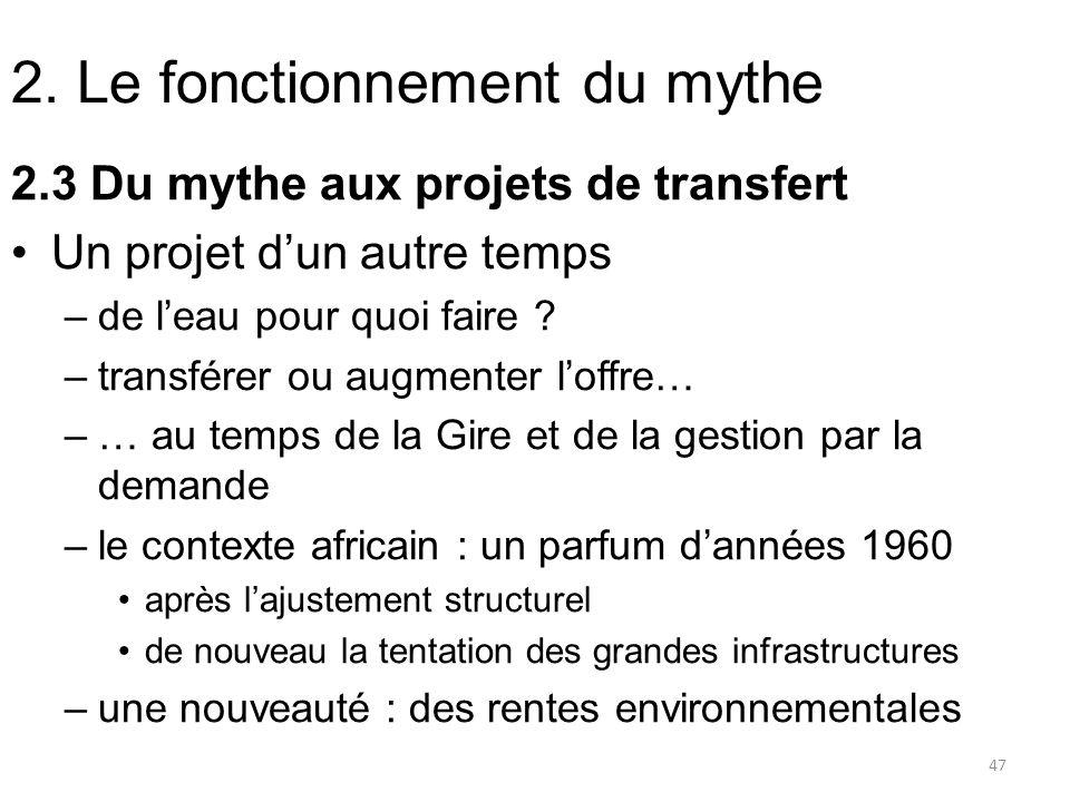 2. Le fonctionnement du mythe 2.3 Du mythe aux projets de transfert Un projet dun autre temps –de leau pour quoi faire ? –transférer ou augmenter loff