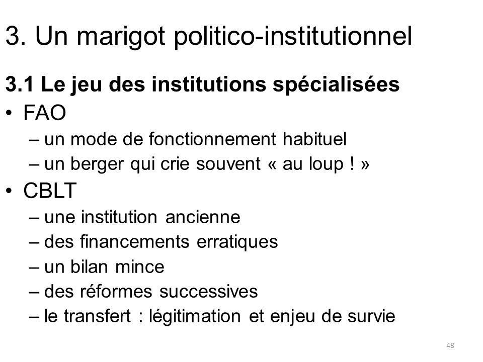 3. Un marigot politico-institutionnel 3.1 Le jeu des institutions spécialisées FAO –un mode de fonctionnement habituel –un berger qui crie souvent « a