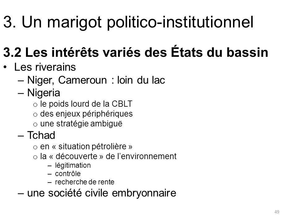 3. Un marigot politico-institutionnel 3.2 Les intérêts variés des États du bassin Les riverains –Niger, Cameroun : loin du lac –Nigeria o le poids lou