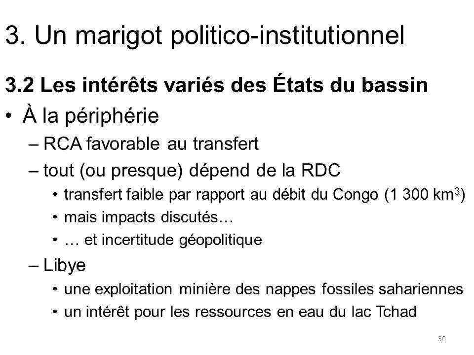 3. Un marigot politico-institutionnel 3.2 Les intérêts variés des États du bassin À la périphérie –RCA favorable au transfert –tout (ou presque) dépen