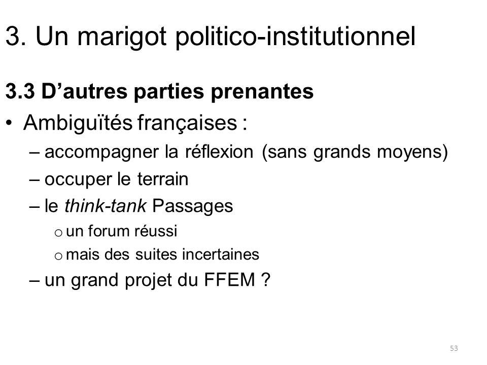3. Un marigot politico-institutionnel 3.3 Dautres parties prenantes Ambiguïtés françaises : –accompagner la réflexion (sans grands moyens) –occuper le