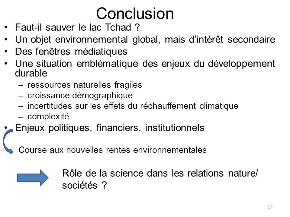 Conclusion Faut-il sauver le lac Tchad ? Un objet environnemental global, mais dintérêt secondaire Des fenêtres médiatiques Une situation emblématique