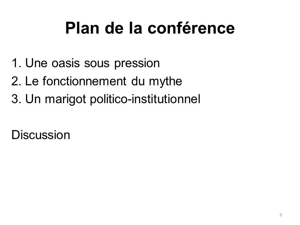 Plan de la conférence 1. Une oasis sous pression 2. Le fonctionnement du mythe 3. Un marigot politico-institutionnel Discussion 6