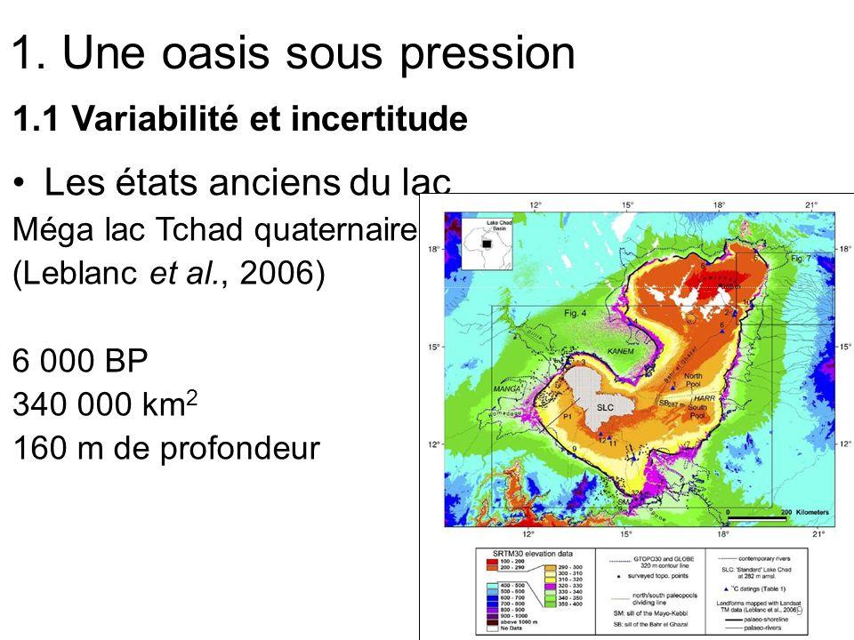 1. Une oasis sous pression 1.1 Variabilité et incertitude Les états anciens du lac Méga lac Tchad quaternaire (Leblanc et al., 2006) 6 000 BP 340 000