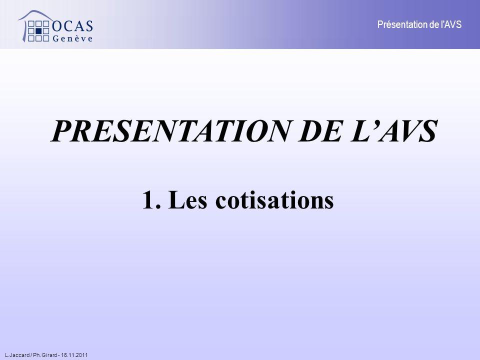 L.Jaccard / Ph.Girard - 16.11.2011 Présentation de l AVS PRESENTATION DE LAVS 1. Les cotisations