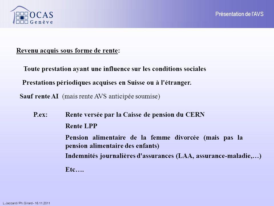 L.Jaccard / Ph.Girard - 16.11.2011 Présentation de l AVS Revenu acquis sous forme de rente: Toute prestation ayant une influence sur les conditions sociales Prestations périodiques acquises en Suisse ou à l étranger.