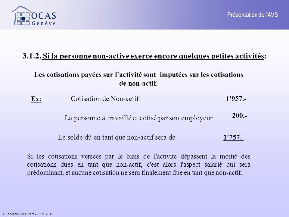 L.Jaccard / Ph.Girard - 16.11.2011 Présentation de l AVS 3.1.2.