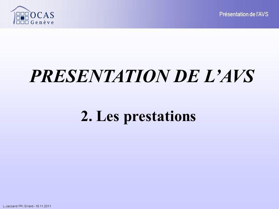 L.Jaccard / Ph.Girard - 16.11.2011 Présentation de l AVS PRESENTATION DE LAVS 2. Les prestations