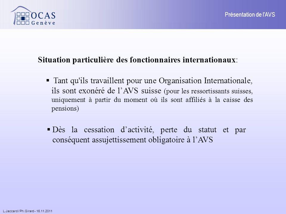 L.Jaccard / Ph.Girard - 16.11.2011 Présentation de l AVS 3.3.3.