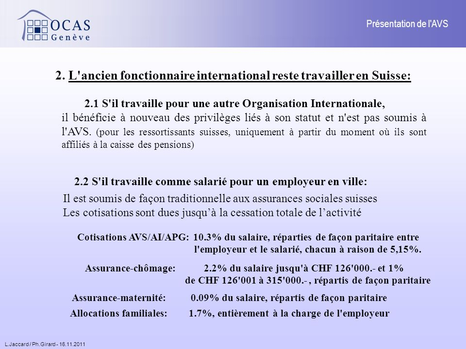 L.Jaccard / Ph.Girard - 16.11.2011 Présentation de l AVS 4.2.