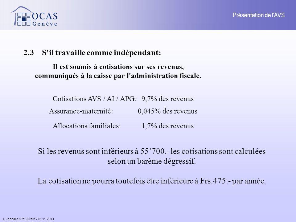 L.Jaccard / Ph.Girard - 16.11.2011 Présentation de l AVS PLAFONNEMENT Limitation du montant de la rente pour un couple à 150% du montant maximum de léchelle appliquée aux conjoints mariés ou pacsés.
