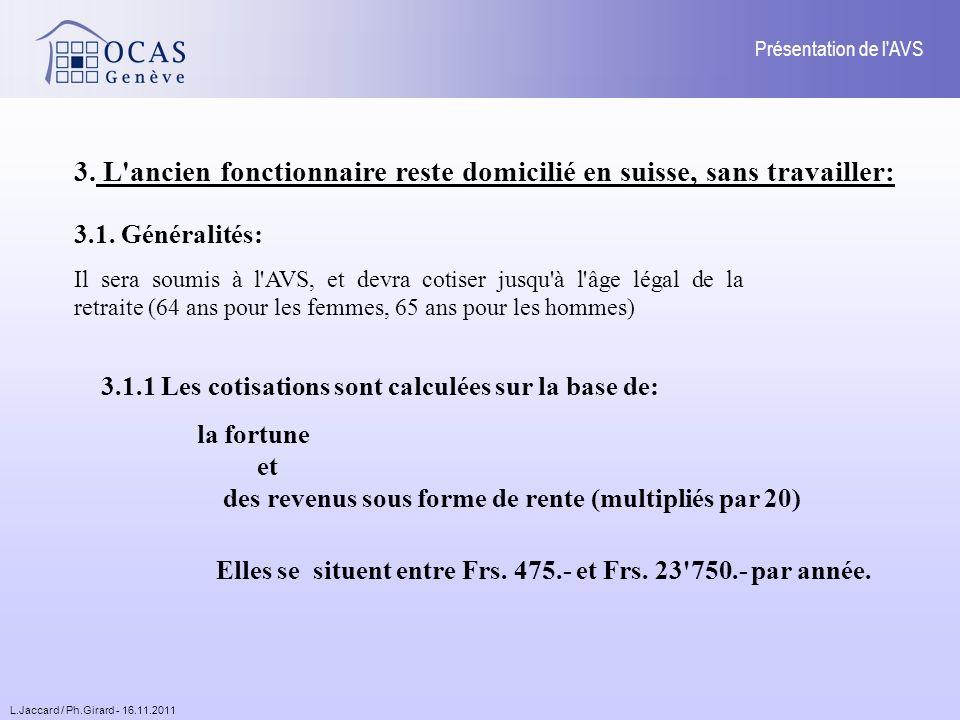 L.Jaccard / Ph.Girard - 16.11.2011 Présentation de l AVS Fortune: La fortune prise en considération est la fortune au 31 décembre de l année concernée.