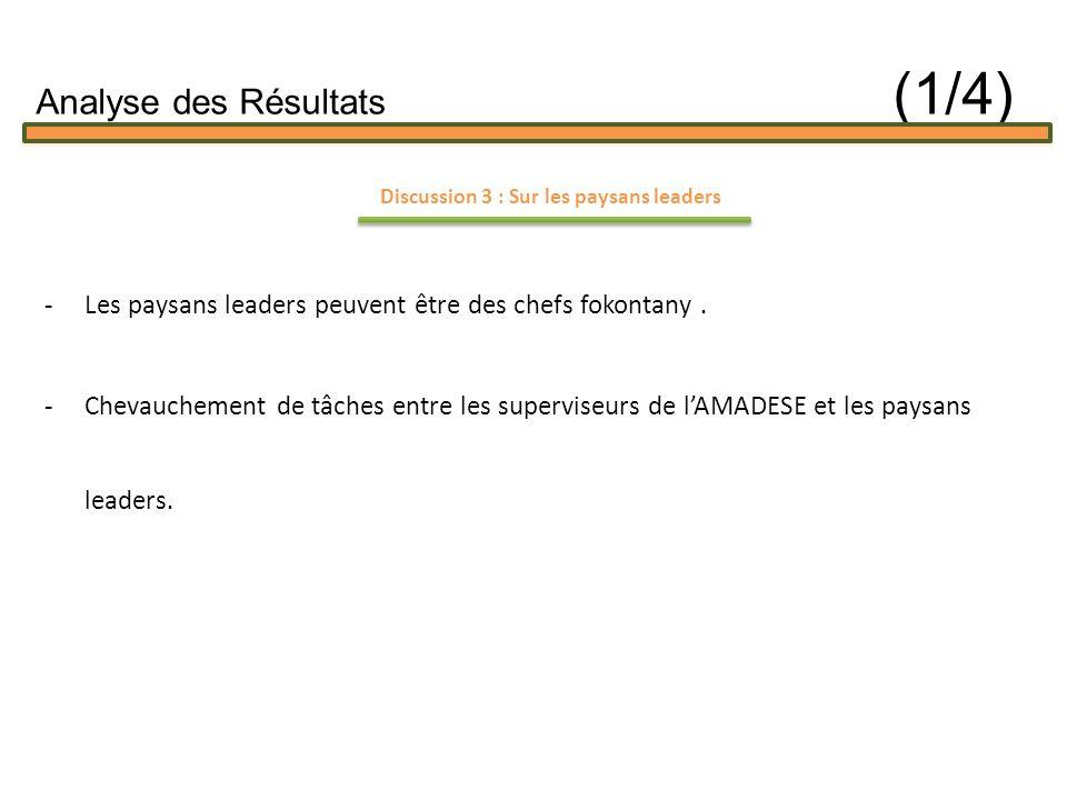 Discussion 3 : Sur les paysans leaders -Les paysans leaders peuvent être des chefs fokontany.
