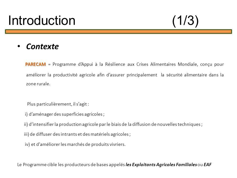 Contexte PARECAM PARECAM = Programme dAppui à la Résilience aux Crises Alimentaires Mondiale, conçu pour améliorer la productivité agricole afin dassurer principalement la sécurité alimentaire dans la zone rurale.