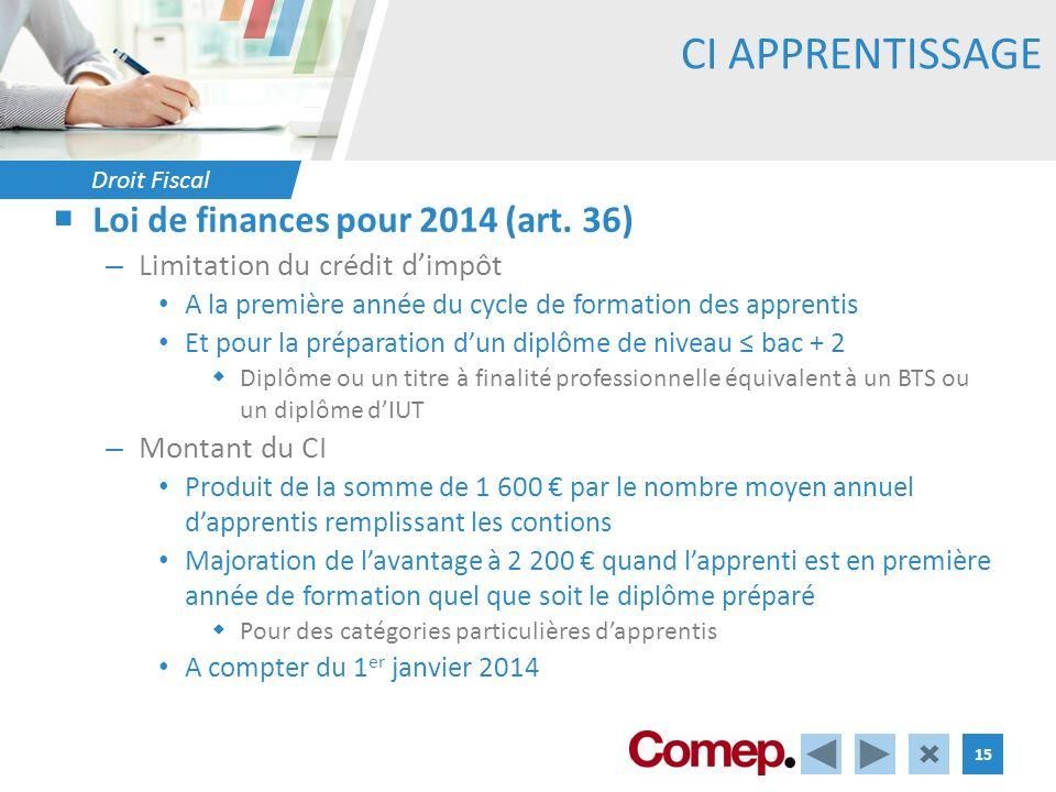 Droit Fiscal 15 CI APPRENTISSAGE Loi de finances pour 2014 (art. 36) – Limitation du crédit dimpôt A la première année du cycle de formation des appre
