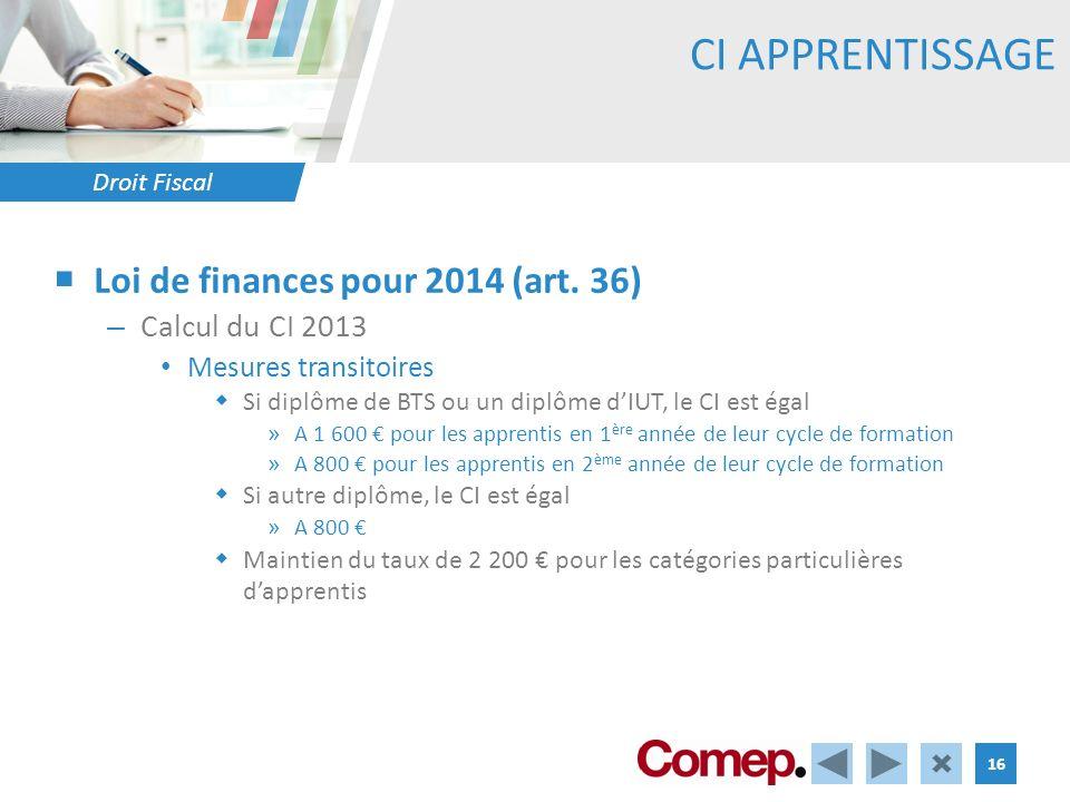 Droit Fiscal 16 CI APPRENTISSAGE Loi de finances pour 2014 (art. 36) – Calcul du CI 2013 Mesures transitoires Si diplôme de BTS ou un diplôme dIUT, le