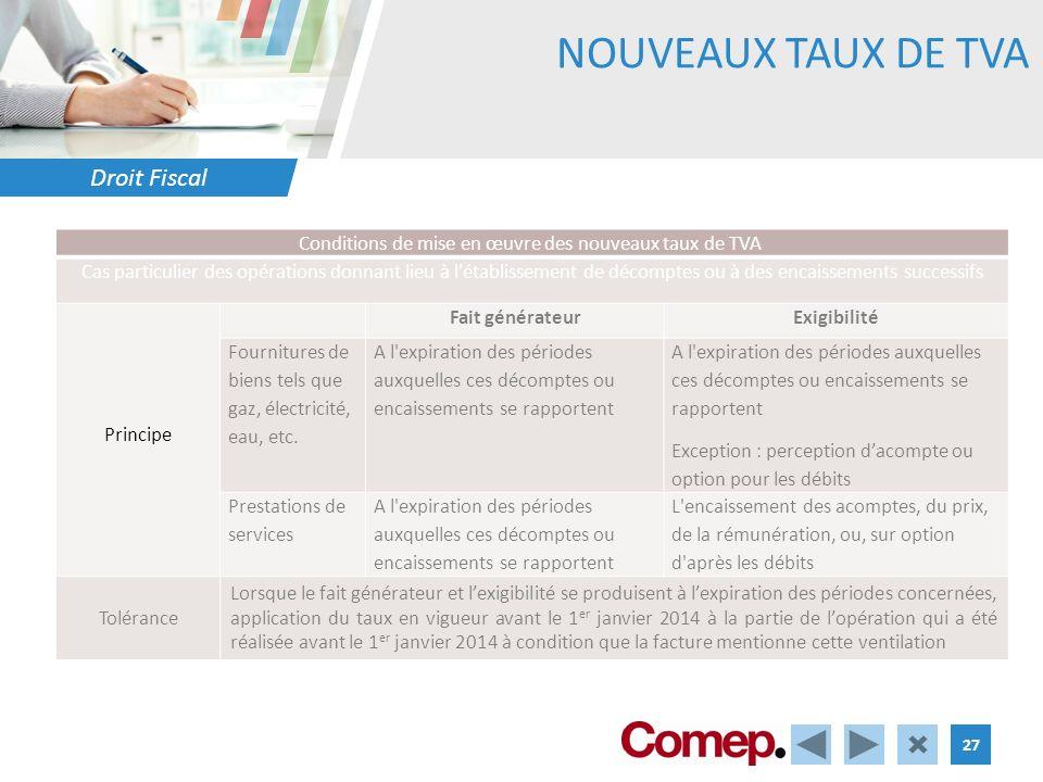 Droit Fiscal 27 NOUVEAUX TAUX DE TVA Conditions de mise en œuvre des nouveaux taux de TVA Cas particulier des opérations donnant lieu à létablissement