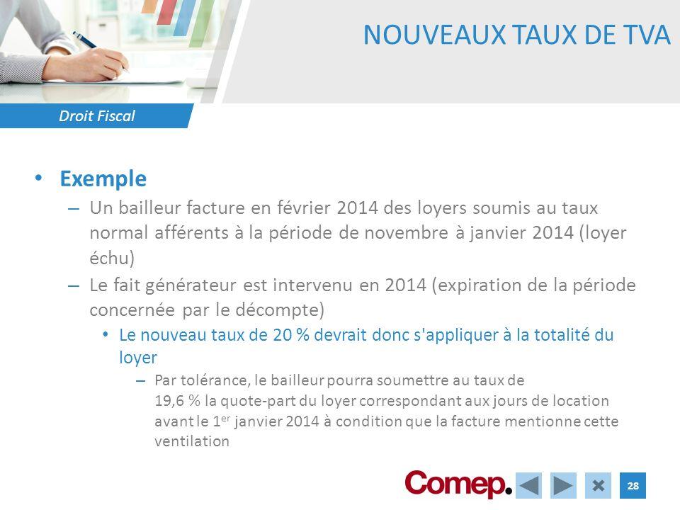 Droit Fiscal 28 NOUVEAUX TAUX DE TVA Exemple – Un bailleur facture en février 2014 des loyers soumis au taux normal afférents à la période de novembre