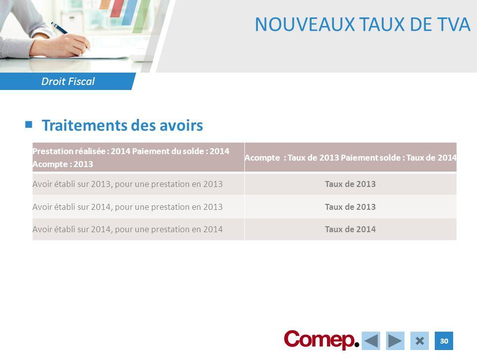 Droit Fiscal 30 NOUVEAUX TAUX DE TVA Traitements des avoirs Prestation réalisée : 2014 Paiement du solde : 2014 Acompte : 2013 Acompte : Taux de 2013