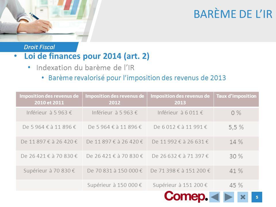 Droit Fiscal 5 BARÈME DE LIR Loi de finances pour 2014 (art. 2) Indexation du barème de lIR Barème revalorisé pour limposition des revenus de 2013 Imp