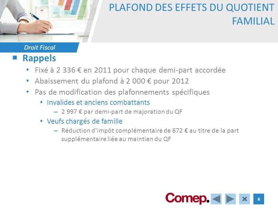 Droit Fiscal 6 PLAFOND DES EFFETS DU QUOTIENT FAMILIAL Rappels Fixé à 2 336 en 2011 pour chaque demi-part accordée Abaissement du plafond à 2 000 pour