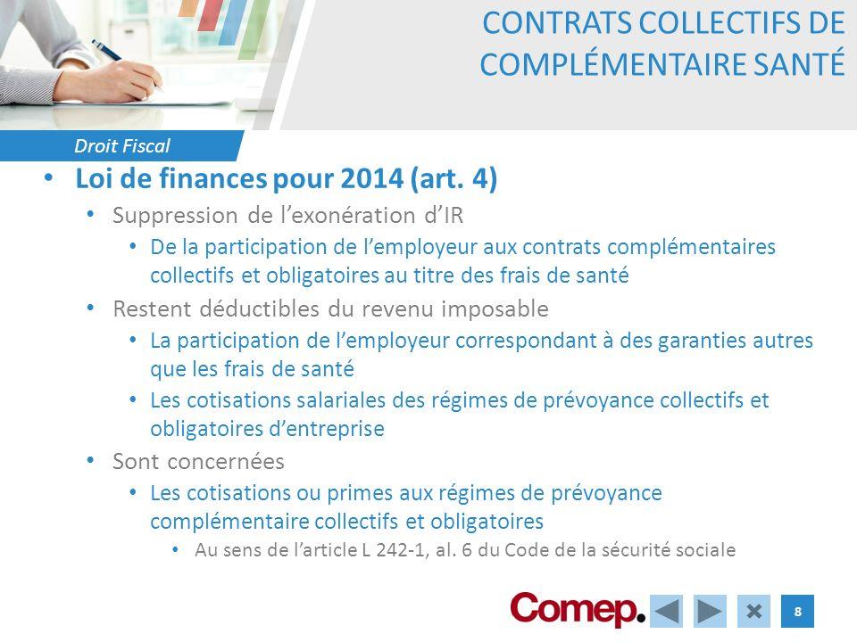 Droit Fiscal 8 CONTRATS COLLECTIFS DE COMPLÉMENTAIRE SANTÉ Loi de finances pour 2014 (art. 4) Suppression de lexonération dIR De la participation de l
