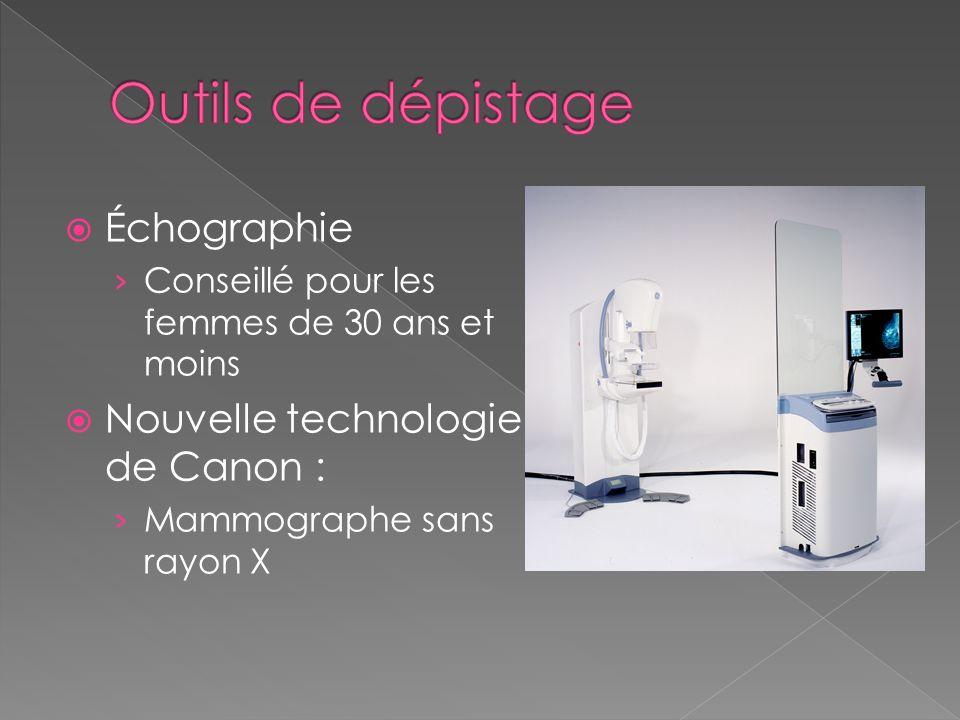 Échographie Conseillé pour les femmes de 30 ans et moins Nouvelle technologie de Canon : Mammographe sans rayon X