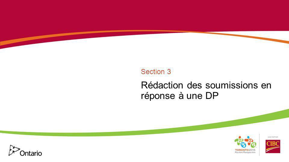 Rédaction des soumissions en réponse à une DP Section 3