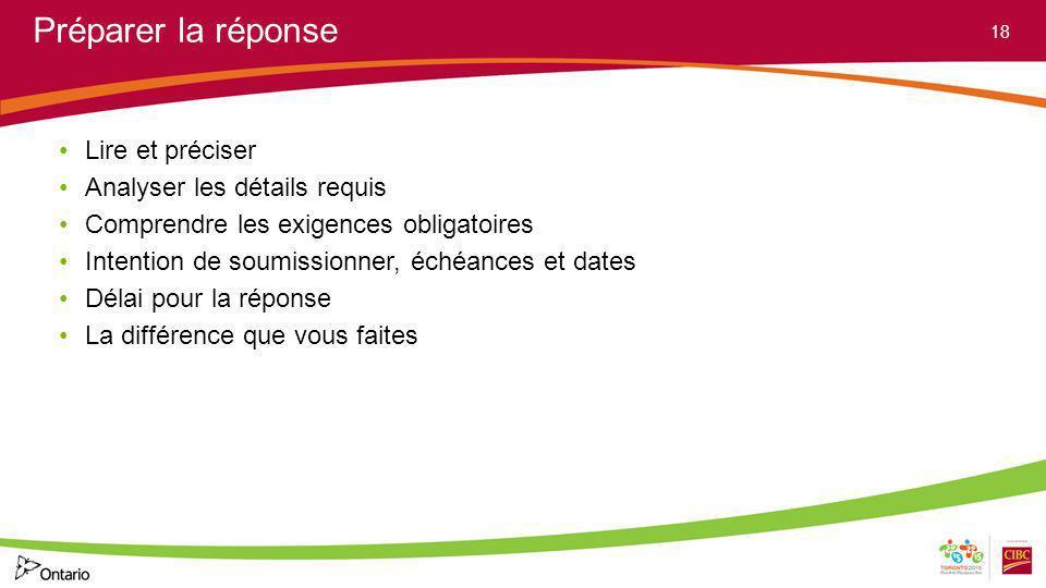 Préparer la réponse Lire et préciser Analyser les détails requis Comprendre les exigences obligatoires Intention de soumissionner, échéances et dates