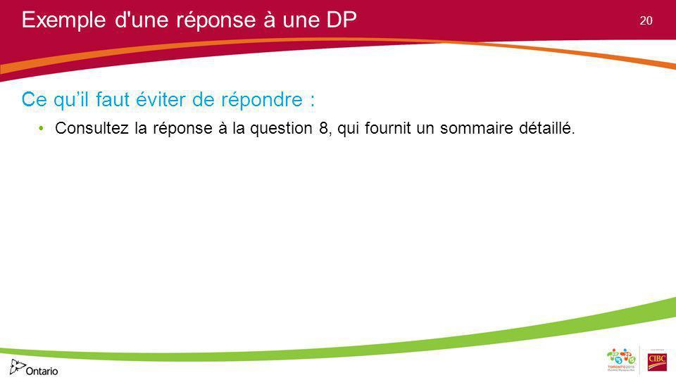 Exemple d'une réponse à une DP Ce quil faut éviter de répondre : Consultez la réponse à la question 8, qui fournit un sommaire détaillé. 20