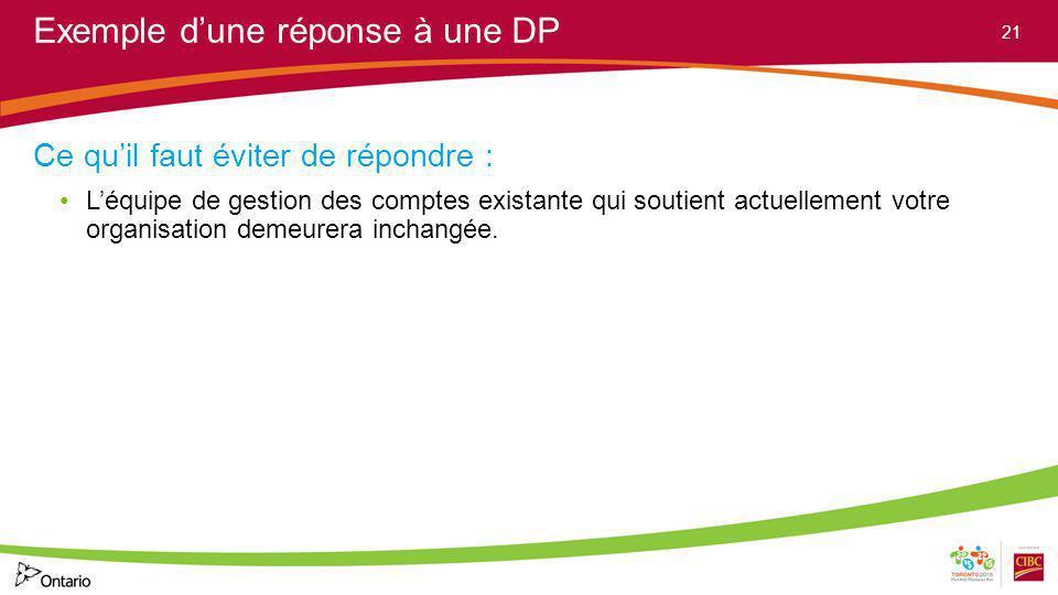 Exemple dune réponse à une DP Ce quil faut éviter de répondre : Léquipe de gestion des comptes existante qui soutient actuellement votre organisation