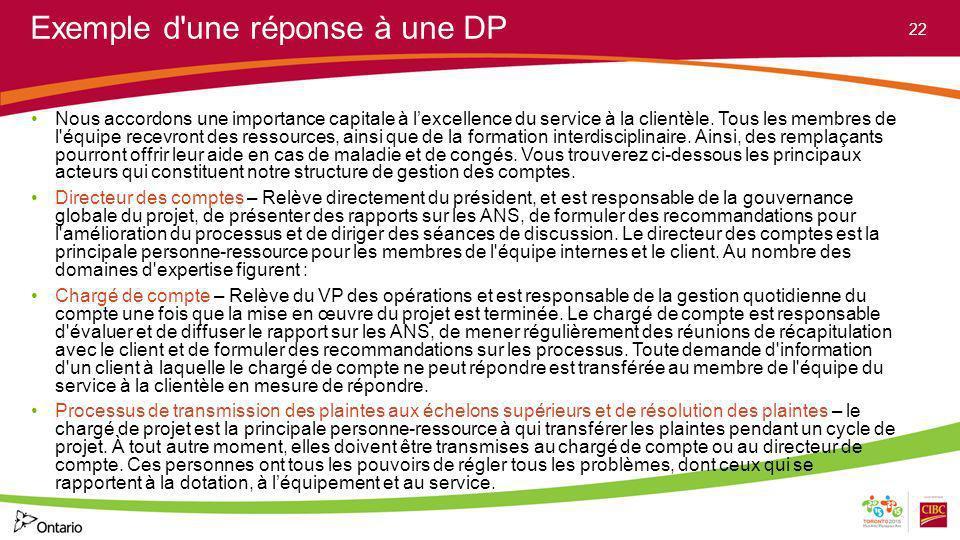 Exemple d'une réponse à une DP Nous accordons une importance capitale à lexcellence du service à la clientèle. Tous les membres de l'équipe recevront
