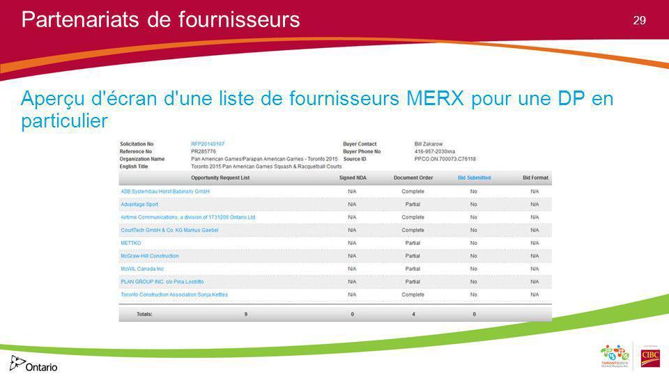 Partenariats de fournisseurs Aperçu d'écran d'une liste de fournisseurs MERX pour une DP en particulier 29