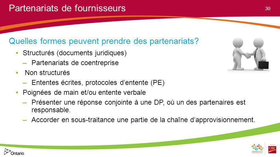 Partenariats de fournisseurs Quelles formes peuvent prendre des partenariats? Structurés (documents juridiques) –Partenariats de coentreprise Non stru