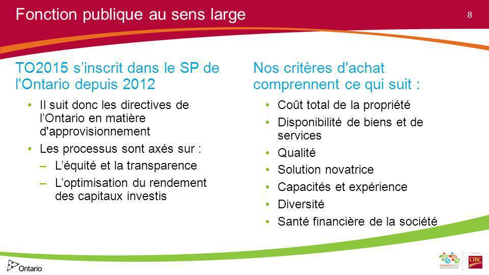 Fonction publique au sens large TO2015 sinscrit dans le SP de l'Ontario depuis 2012 Il suit donc les directives de lOntario en matière d'approvisionne