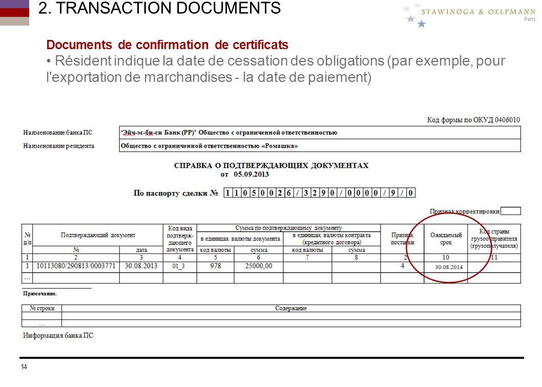 2. TRANSACTION DOCUMENTS Documents de confirmation de certificats Résident indique la date de cessation des obligations (par exemple, pour l'exportati