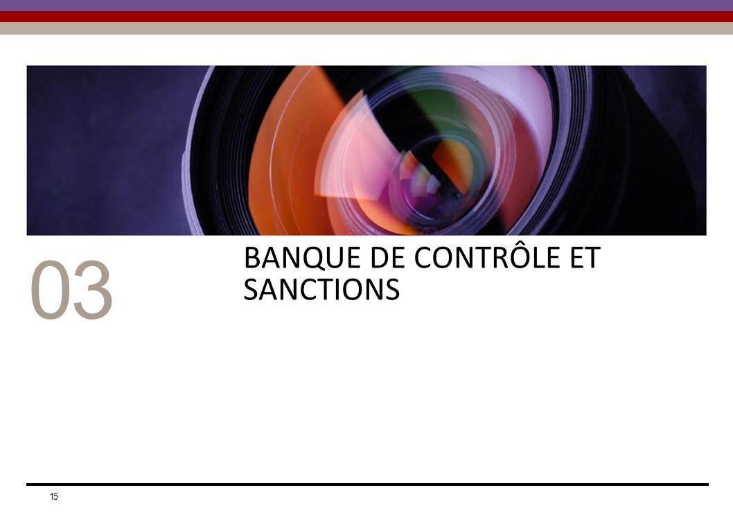 03 BANQUE DE CONTRÔLE ET SANCTIONS 15